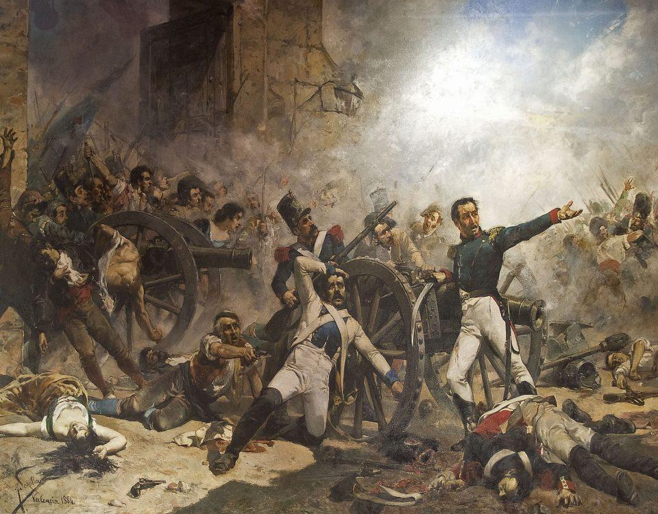 La muerte de Pedro Velarde durante la Defensa del parque de artillería de Monteleón, de Joaquín Sorolla.