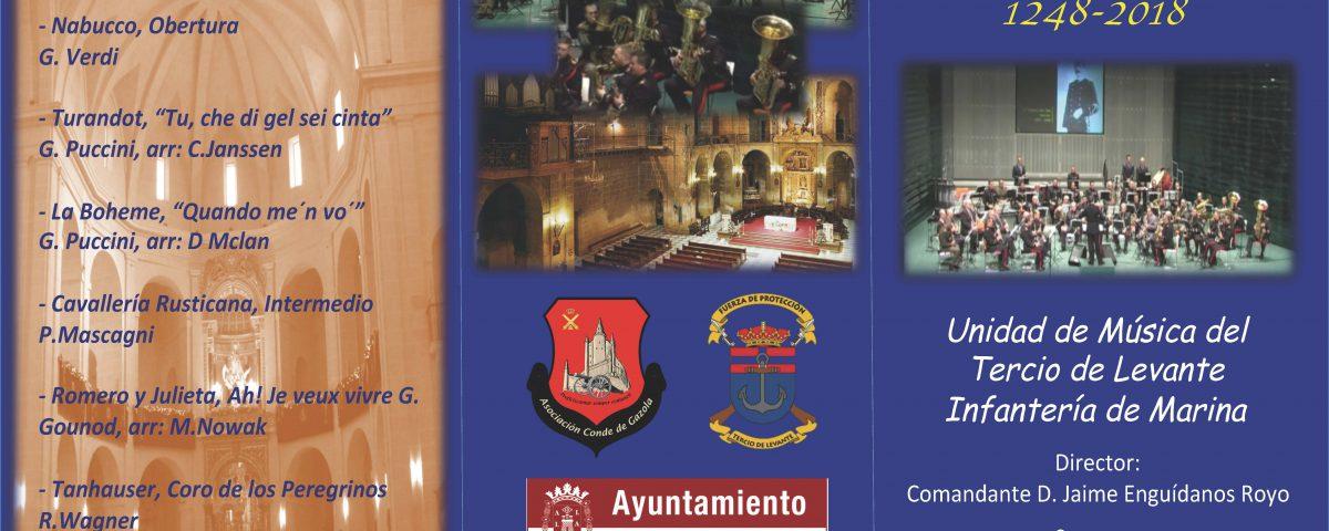 Programa de Mano CONCIERTO CONMEMORACIÓN 770º Aniversario Toma de Alicante 1248-2018